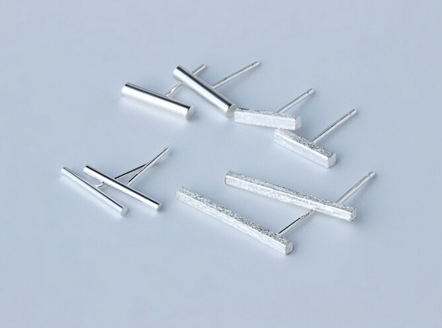 New Fashion 925 Sterling Silver straight Bar /Stick Stud Earrings Piercing Vertical Bar Gift for Men Women geometric GTLE492-1