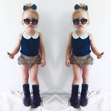 Fashion New Baby Summer Clothing Set Little Girls Solid Lace Collar Top Vest+Striped Bloomers Short Pants Children Outerwear