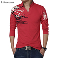 2017 New Fashion Men's T Shirt Fashion Print V Neck Long Sleeve T Shirt Mens Clothing Trend Slim Fit Casual Top Tees Shirt 5XL