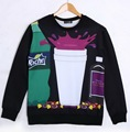 New fashion 2015 men/womens 3D sweatshirts graphic print cartoon drugs & weed funny crewneck pullover hoodies spring casual tops