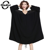 Oladivi Plus Size Clothing Women See Through Lace Dress Casual Loose Dresses New Fashion Lady Long