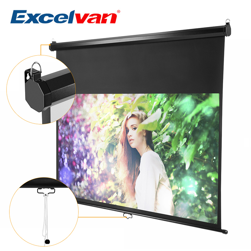 Excelvan 100 inch 16:9 Ratio 1.1 Gain Manual Pull Down Projection Projector Screen Auto Self Locking Waterproof Screen low price 92 inch flat fixed projector screen diy 4 black velevt frames 16 9 format projection for cinema theater office room