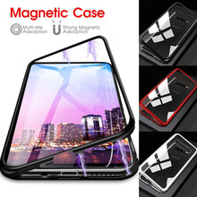 Luxury Magnetic Adsorption Phone Case For Samsung Galaxy S10 S8 S9 Plus Note 8 9 Metal Magnet Absorption Tempered Glass