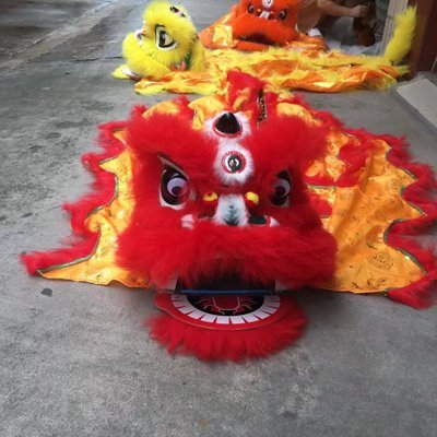 Plush Animal Wool Lion's Head Lion Dance Bring Good Luck Chinese Traditional Custom Performance Project Handicraft Toy for Kids