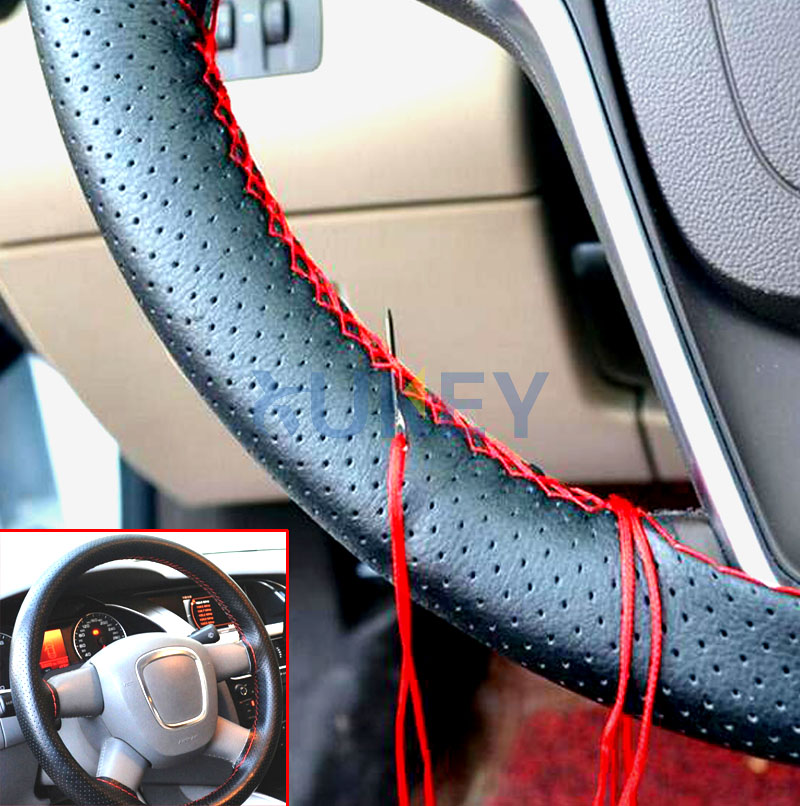 1Pc Soft Grip Breathable Car Steering Wheel Cover Hand Sew Sewing DIY Steering Wheel Covers Pu Leather Air Hole for Auto Van SUV Gray