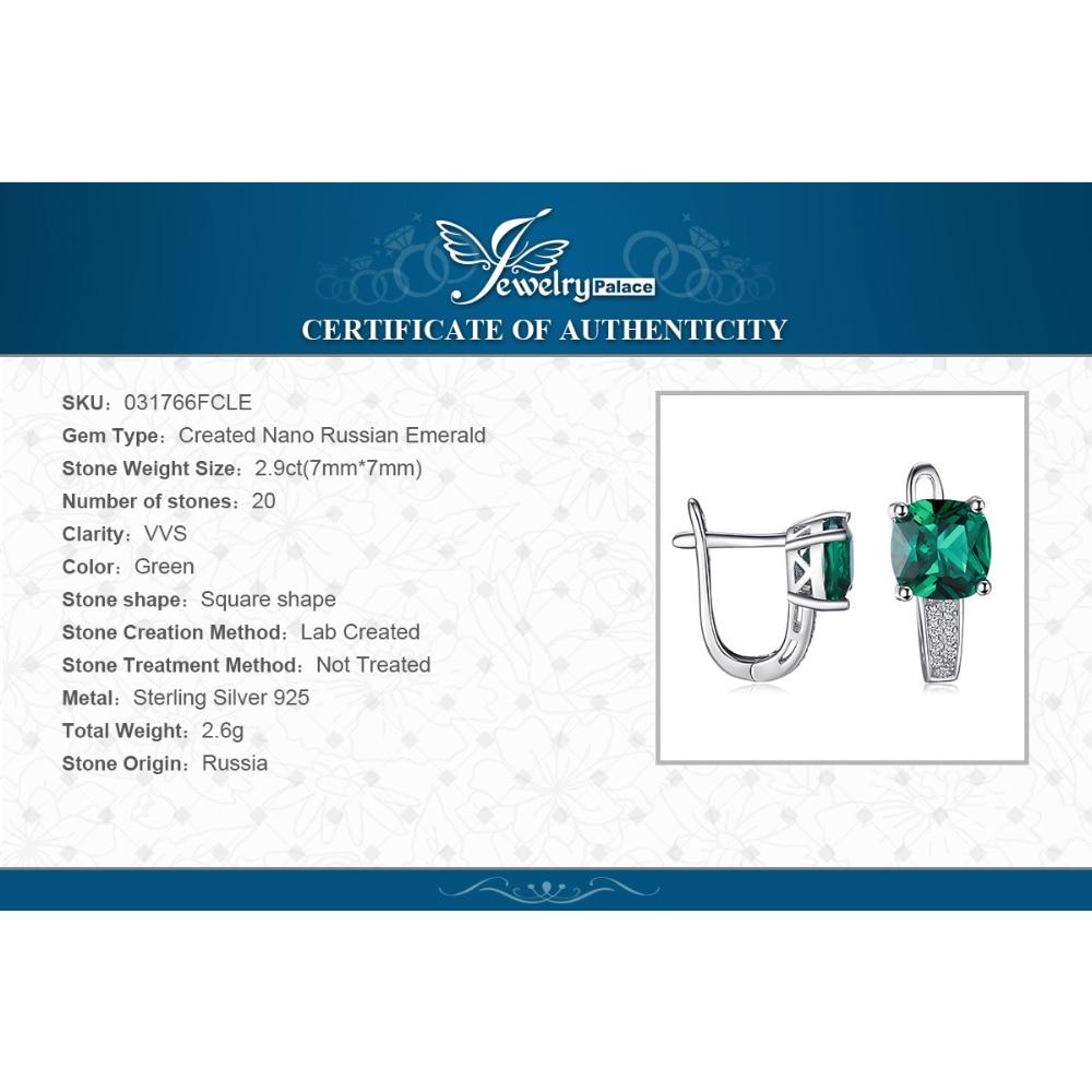 JewelryPalace Yastığı 3.1ct Yaşıl Zümrüd Klip Sırqalar 100% - Gözəl zərgərlik - Fotoqrafiya 6