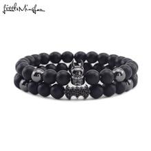 Luxury men bracelet Natural stone beads bat man CZ charms Hematite handmade Men bracelets & bangles for Jewelry