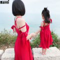 Famli 1pc Mother Daughter Summer Chiffon Dress 2017 Family Mom Baby Kids Matching Fashion Solid Sleeveless Long Dresses Outfits