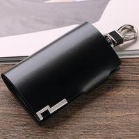 WILLIAMPOLO الرجال مفتاح محفظة بحامل بطاقات صغيرة سيارة مفتاح منظم جلد طبيعي حقيبة سلسلة مفاتيح غطاء مع سستة عملة جيب البسيطة محفظة