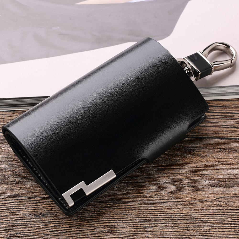 WILLIAMPOLO Men Key Holder Wallet Small Car Key Organizer Genuine Leather Keychain Bag Cover With Zipper Coin Pocket Mini Purse