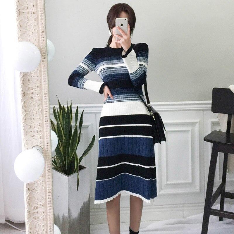 2019 Fashion Autumn Winter Robe Femme Women Long Sleeve Stripe Knitting Sweater Dress Bodycon Casual Long Party Dresses Vestidos