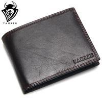 Luxury Brand High Quality Vintage Designer 100 Top Genuine Crazy Horse Cowhide Leather Men Short Wallet