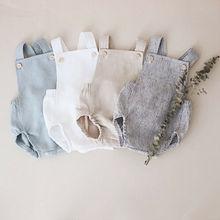 Летние комбинезоны для малышей Детские штаны на подтяжках однотонный комбинезон для маленьких мальчиков в полоску, белый, зеленый, хаки, милые хлопковые комбинезоны для девочек