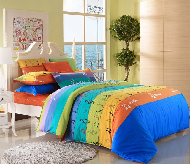 5 Pieces Music Notes Bedding Sets Twin/Full/Queen/King Music Note Sheets