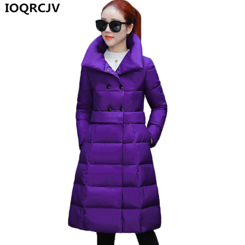 298f59fdc8216 IOQRCJV Winter Down Cotton Jackets Coats Women New Slim Large Size Thick  Warm Cotton Clothes Female Parkas Long Outerwear K809