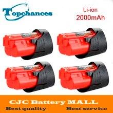High Quality 4PCS 12V 2000mAh Li-Ion Replacement Power Tool Battery for Milwaukee M12 C12 BX C12 B 48-11-2402 48-11-2401