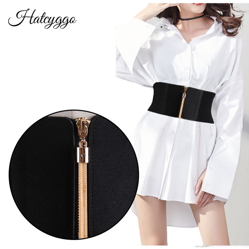 HATCYGGO Women Elastic Cinch Belt Wide Stretch Waist Belt Gold Tassel Zipper Corset Cummerbund Dress Adornment For Women Straps