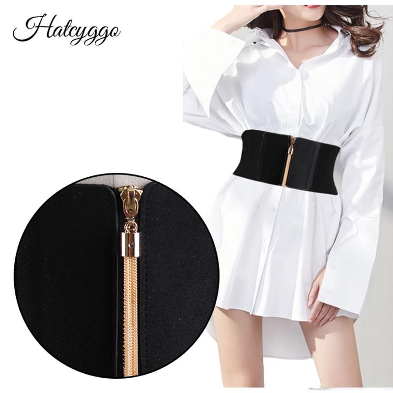 HATCYGGO Women Elastic Cinch Belt Wide Stretch Waist Belt Gold Tassel Zipper Corset Cummerbund Dress Adornment For Women Straps