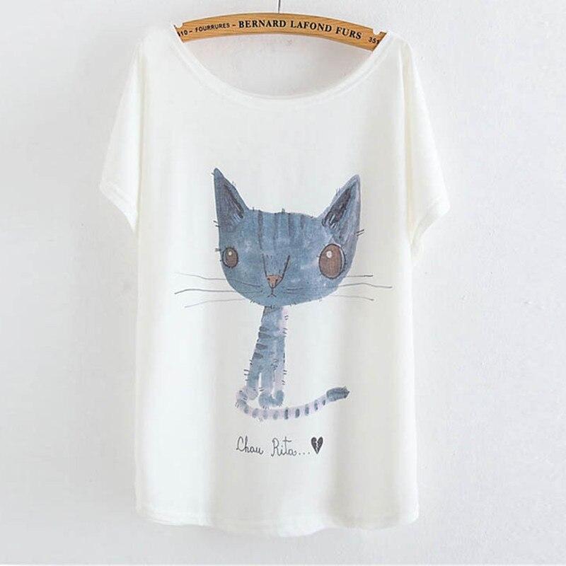 2019 Nejprodávanější letní móda Harajuku Krátký batwing rukáv O-krk Tees Ženy Topy Animal Printed Casual Casual Loose Size T-shirt