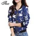 Tlzc street style mujer moda abrigos más el tamaño m-4xl patrón cisne dulce casual mujeres viento colegio chaquetas de algodón