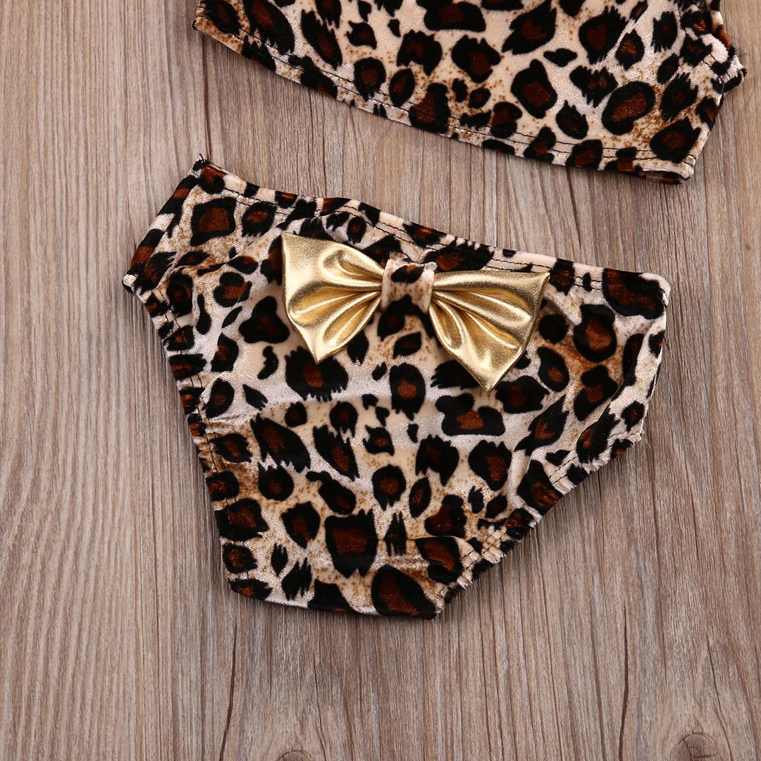 Лидер продаж, детский купальник из 3 предметов для маленьких девочек, Леопардовый принт, бикини на одно плечо, комплект + повязка на голову, л... 20