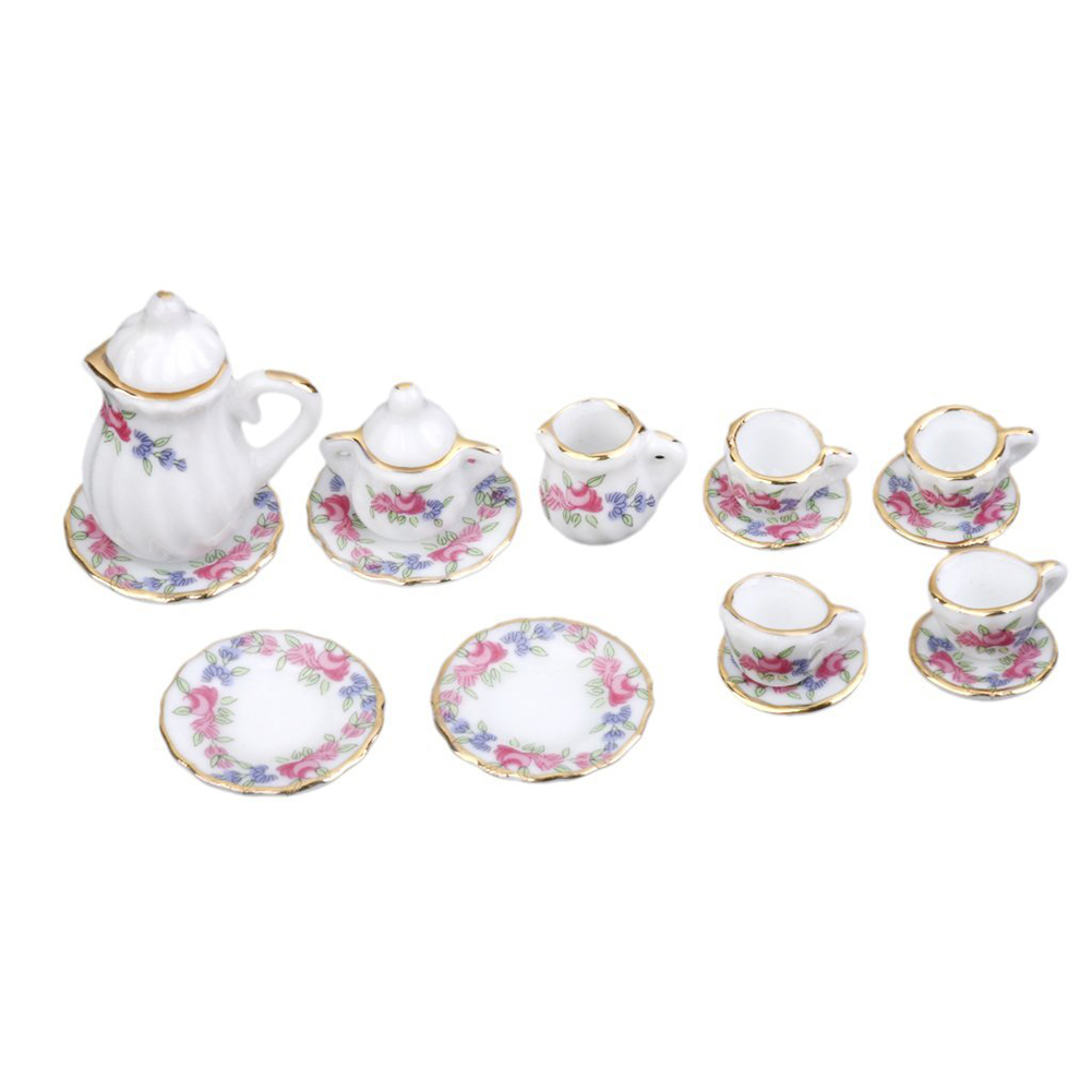 1/12 Dollhouse Miniature Dining Ware Porcelain Tea Set Set of 15pcs Morning Glory ...