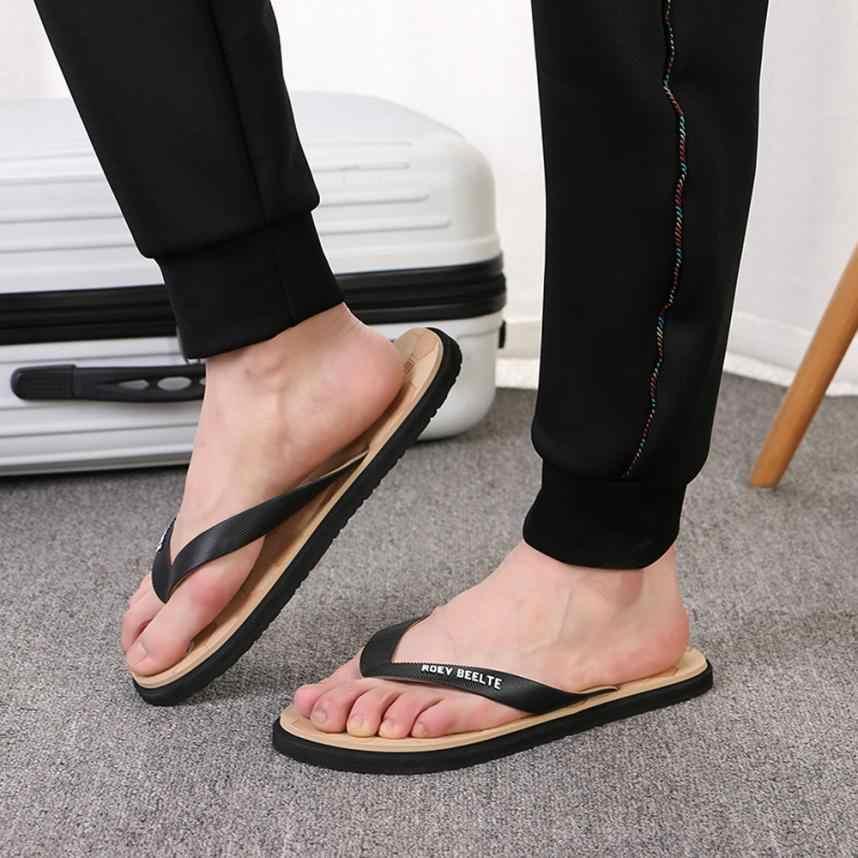 الصيف الوجه بالتخبط شبشب رجالي الصلبة الرجال عادية نعال قلابة جولة تو المضادة للانزلاق أحذية الشاطئ النعال الذكور zapatos hombre