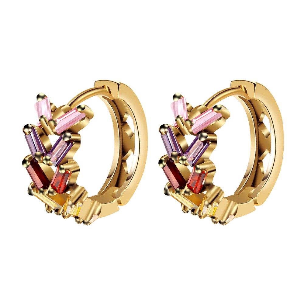ZOSHI Fashion Jewellery Huggie Earing for Women Colorful Cubic Zirconia Hoop Ear