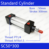 50mm Bore 300mm Stroke SC50X300 SC Series Single Rod Standard Pneumatic Air Cylinder SC50 300