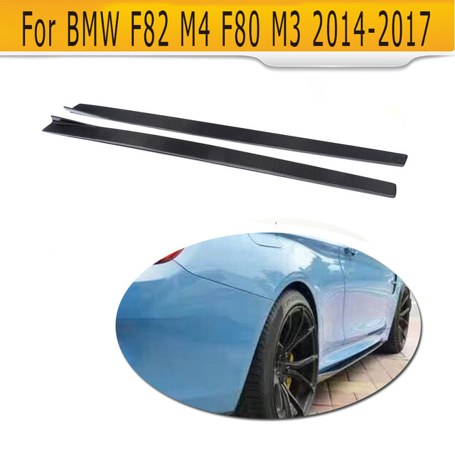 4 Series Carbon Fiber Side Skirts Extension Lip Aprons for BMW F82 M4 Coupe 2 Door F80 M3 Sedan 2014 - 2017 Car Styling 2pcs