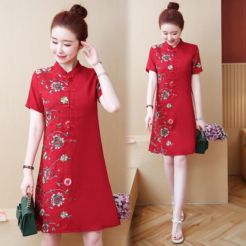 2020 Traditional Chinese Dress For Women Midi Dress Half Sleeve Modern Plaid Cheongsam Oriental Qipao Vintage Flower Print