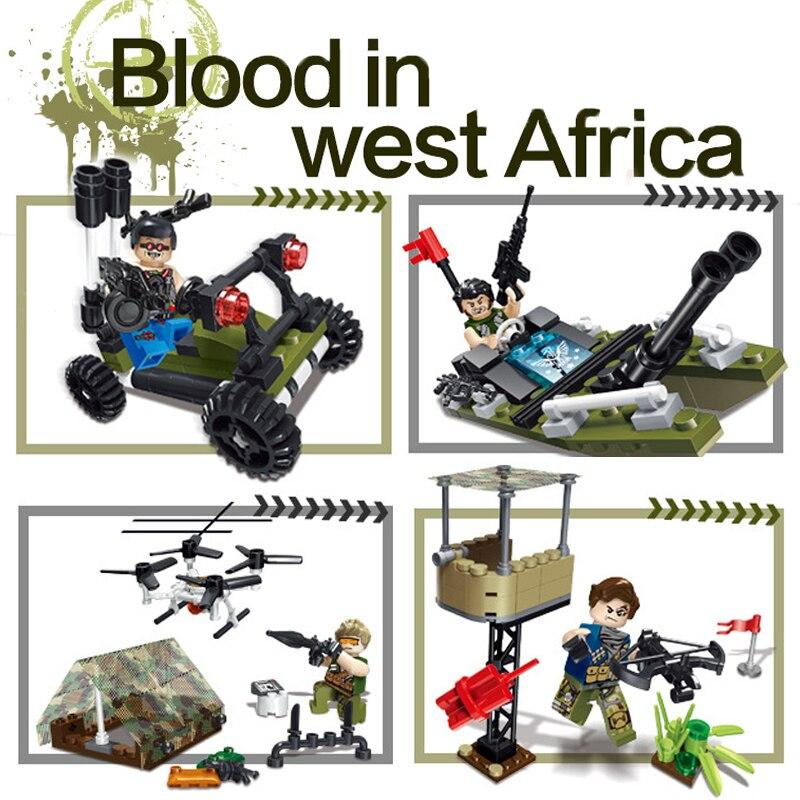 Galleria fotografica 4in1 Militare Soldato Building Blocks WW2 Anime Figurine Arma Costruttore istruzione Toy Boy Compatibile <font><b>LegoINGlys</b></font> <font><b>Technic</b></font> Army