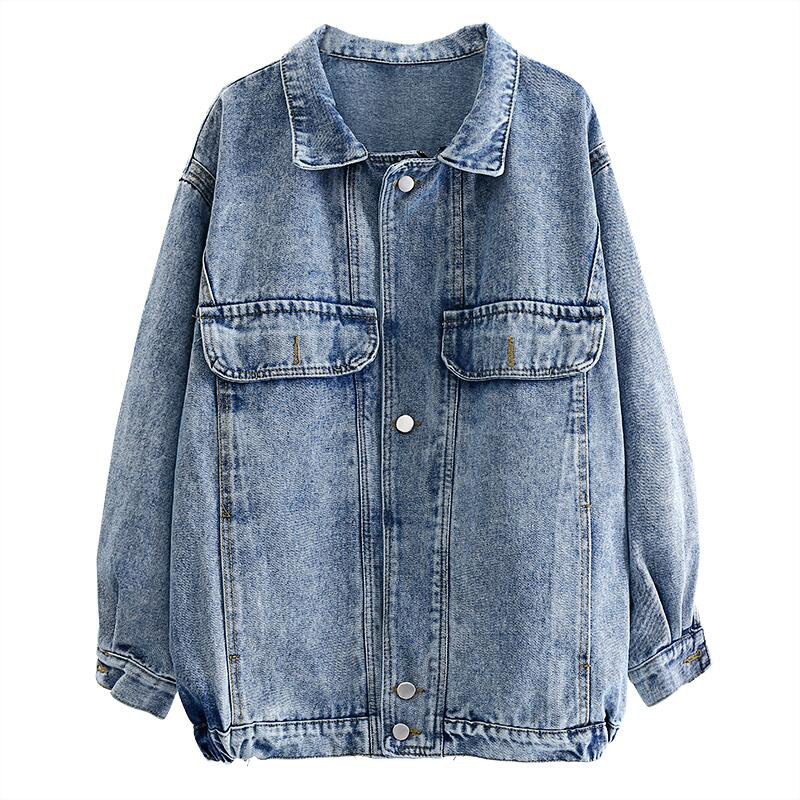 Spring   Jacket   Women Windbreaker Coat Oversize Jeans   Jacket   Patch Designs Harajuku Loose Bomber Streetwear Casual   Basic   Coat