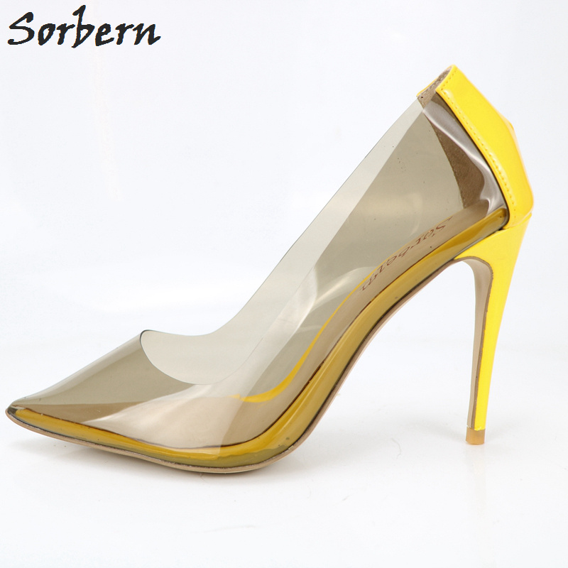 Sorbern Sexy Yellow Shiny Pointed Toe Women Shoes Night Club Ladies Footwears Pump High Heels Transparent Pvc Plastic Shoes NewSorbern Sexy Yellow Shiny Pointed Toe Women Shoes Night Club Ladies Footwears Pump High Heels Transparent Pvc Plastic Shoes New