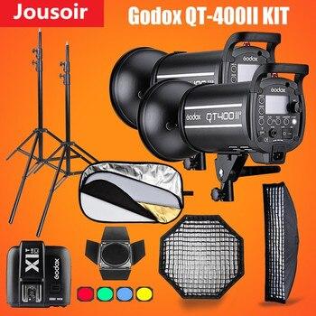 Godox QT400II 400WS GN76 1/8000s HSS Studio Flash Strobe Lighting Kit & X1T Transmitter+Grid Softbox+Barn Door+Light StandCD15