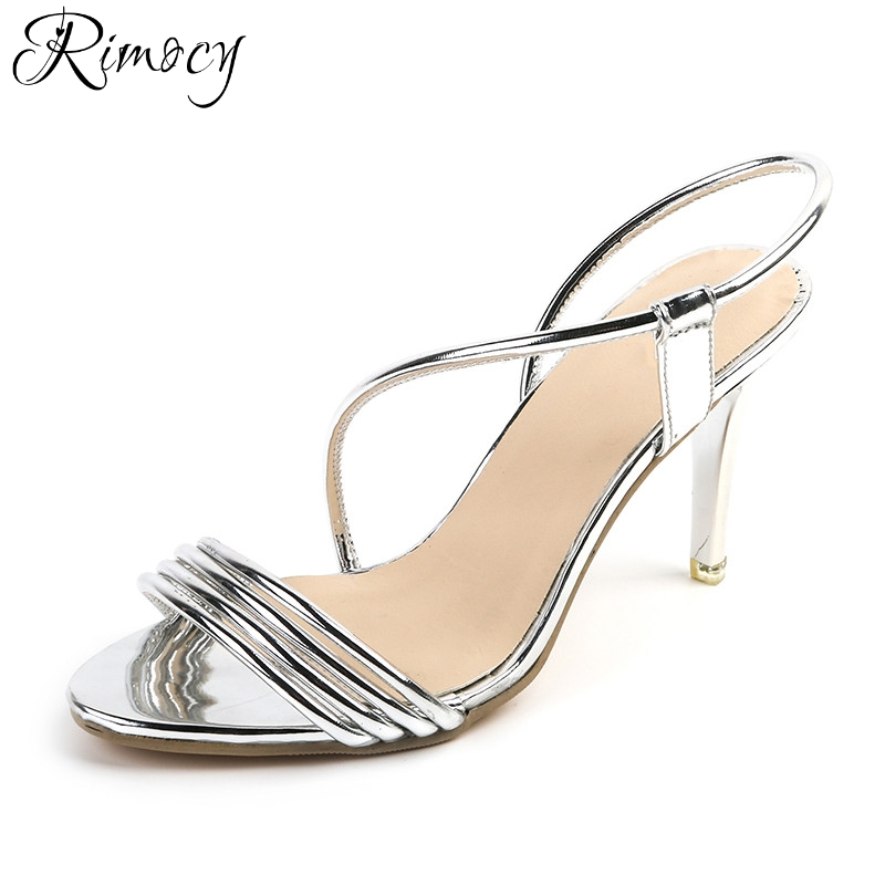 Rimocy elegant party wedding shoes woman 2017 brand design gold silver slip on straps open toe thin high heels sandals women casual leisure sport men s mechanical wrist watch leather strap tourbillon calendar display luminous night light big crown