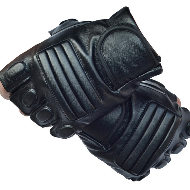 Men's Black PU Leather Tactical Gym Glove Army Military Sport Fitness Cycling Glove Half Finger Driving Glove Guantes Luvas G141
