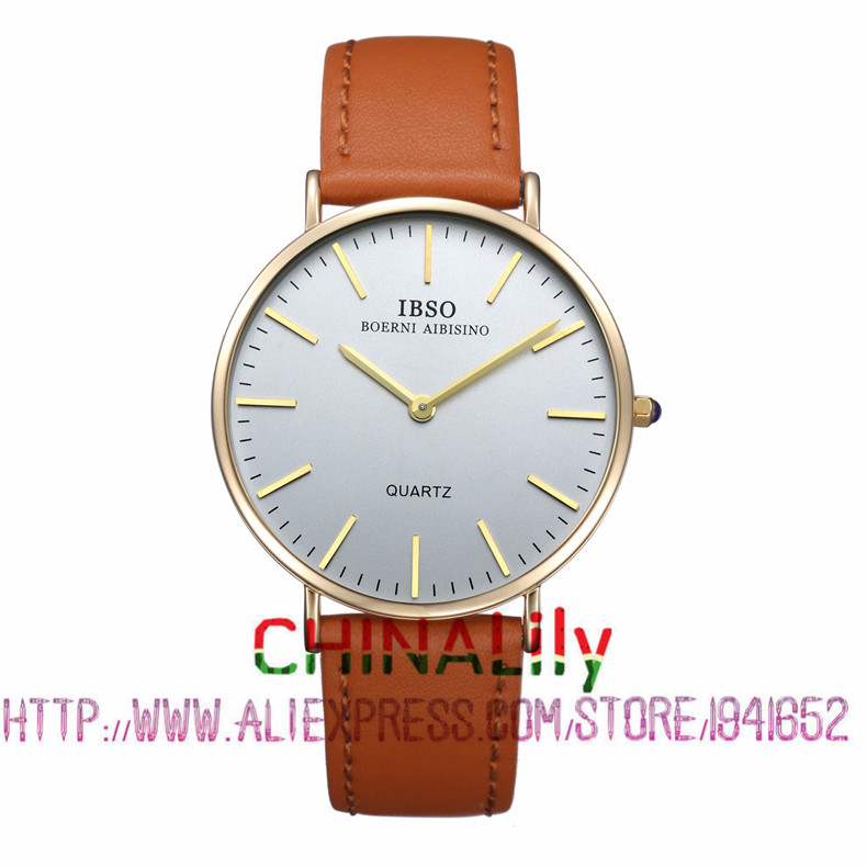 2015 Selling Brand IBSO BOERNI AIBISINO  Unisex Ultra Thin Round Dial Analog Wrist Watch with Waterproof & Leather Band 2203 natate ibso women quartz watch crystal decorated large round dial analog wrist watch with waterproof woman leather band s3819