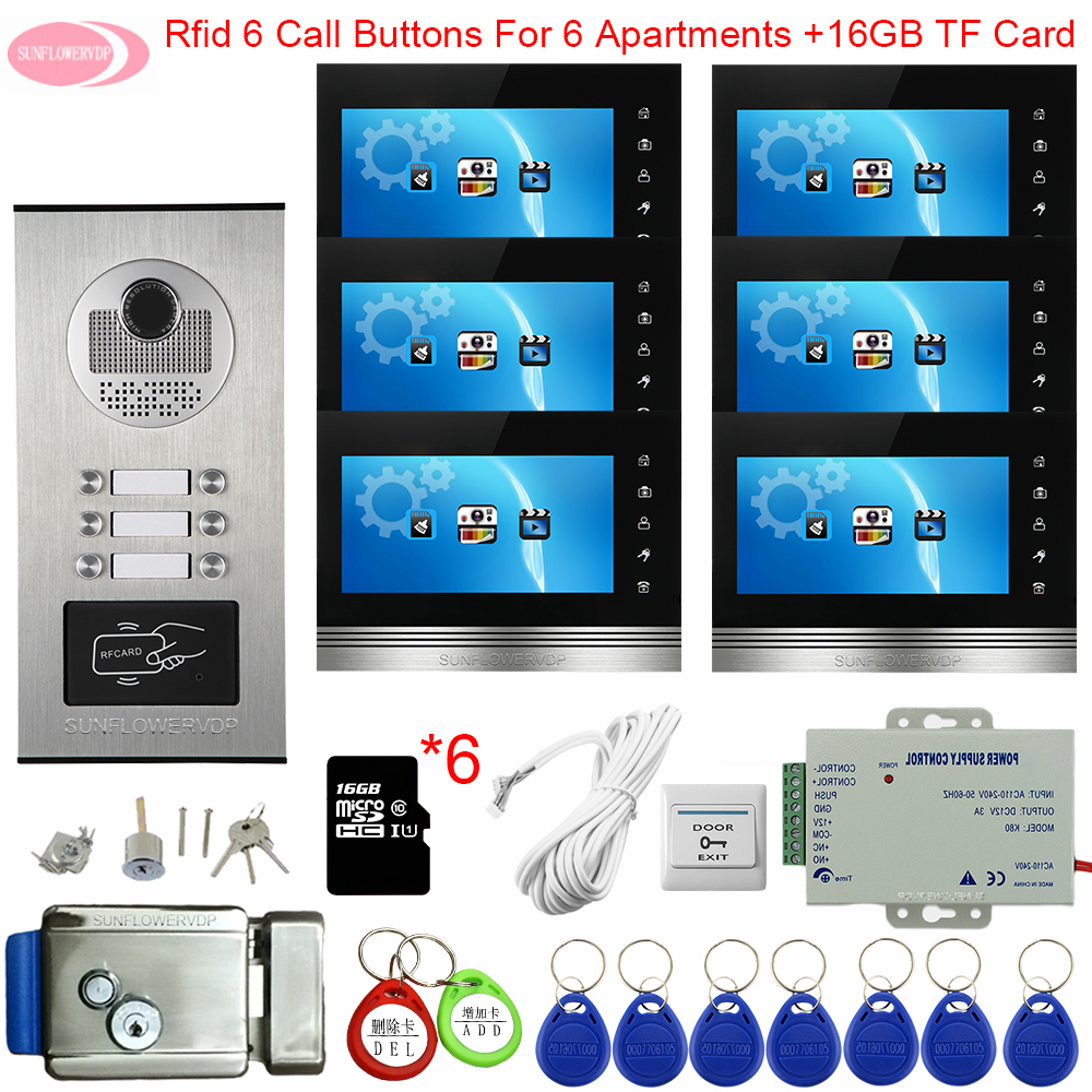 Video Intercom With Recording +16GB TF Card Access Control 7inch Color Door Intercoms For 6-12 Apartments + Electronic Door Lock