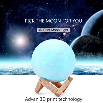 цена 3D Print Moon Lamp Rechargeable Night Light RGB Color Change Toilet Light Touch Switch Bedroom Home Decor Creative Gift онлайн в 2017 году