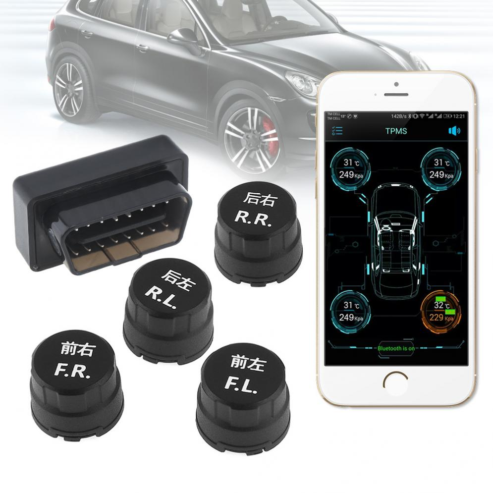 4pcs Smart Car TPMS Bluetooth 4.0 OBD Tyre Tire Pressure Monitoring System APP Display External Sensors Support IOS