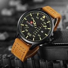 Relógio Militar Quartzo Pulseira de Couro NAVIFORCE