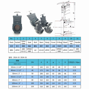 Image 2 - DN32/DN40/DN50/DN65/DN80 UPVC 下水ゲートバルブ 1.5 インチ/2 インチ/2.5 インチ/3 インチ/3.5 インチ拡張可能なデザイン