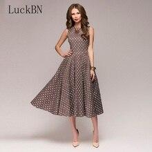 цены на Polka Dot Print Dress Summer Women Elegant Party O-neck Fit Flare Slim Midi Dress Fashion Sleeveless Vintage Dresses Vestidos  в интернет-магазинах