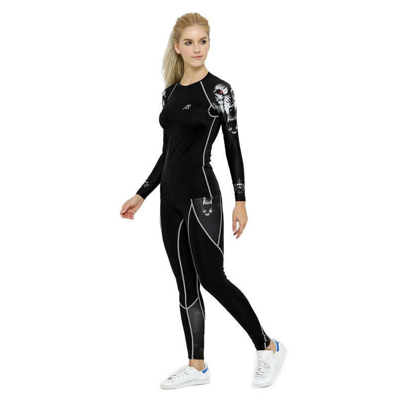 Life on Track Women Outdoor Sports Underwear Set Long Cycling Base Layer Woemen Compression Underwear Top Pants Cycling