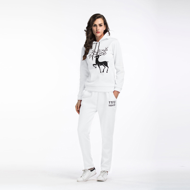 2019 new products Autumn and winter Hooded Plus velvet sports suit Snowflake deer print Christmas womenswear