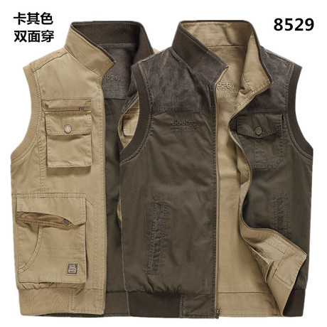 Free shipping brand plus big size  5xl 6xl 7xl 8xl double side mens cotton coat  Vest tops brand military AFS JEEP cotton army