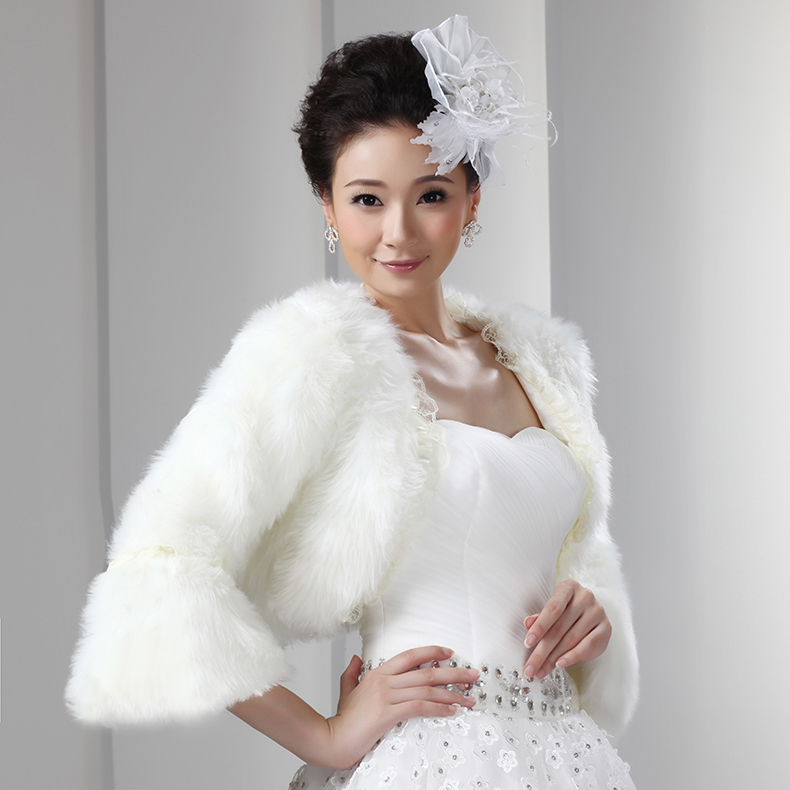 Bolero For Wedding Gown: Faux Fur Bolero With Sleeves Lace Adorned Short Women Coat