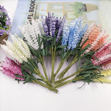 10pcs/PE Pure Lavender Artificial Flower Bouquet For Wedding Home Decoration Mariage flores artificiales Rosa Flowers Plants
