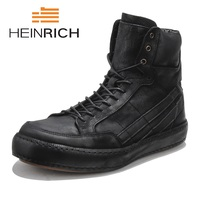 HEINRICH 2018 Fashion Men's Boots Breathable Cow Leather Boots Male Winter Cylinder In The Leisure Man Boots Zapatos Hombre